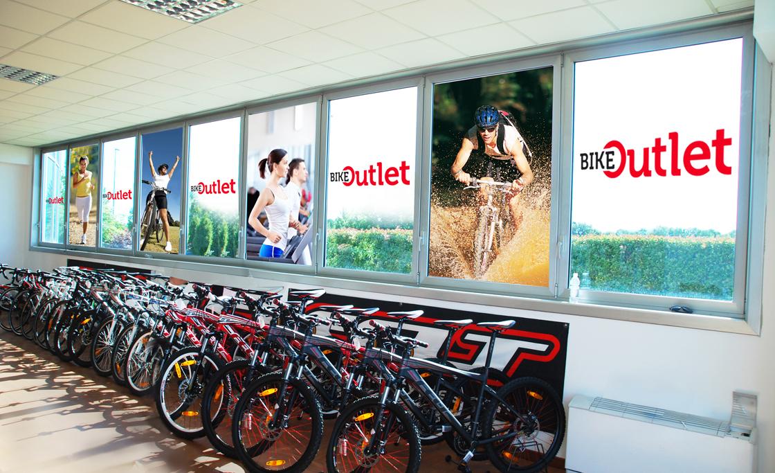 bike outlet archigrafia su vetri